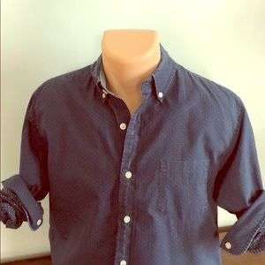 L/S Causal Navy with dots Button-up